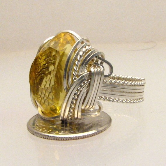 Wire Wrap Yellow Citrine Silver Ring 18x13mm