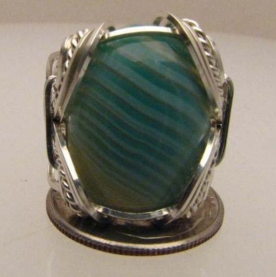 Handmade Wire Wrapped Green and White Striped Sardonyx Sterling Silver Ring.  Custom Personalized Sizing to fit you.