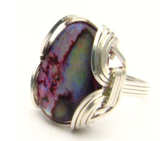 Wire Wrapped Red Paua Shell Gemstone Sterling Silver Ring.  Custom Sized to fit you.
