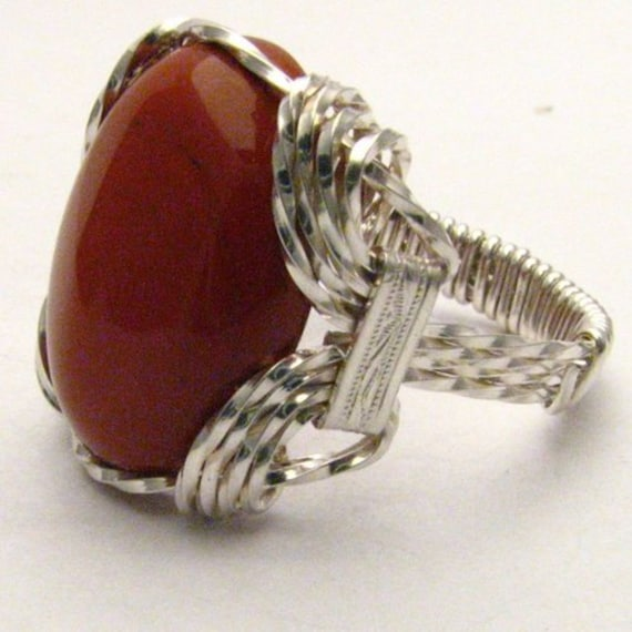 Handmade Sterling Silver Wire Wrap Red Jasper Ring