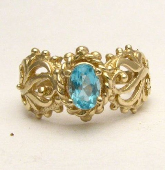 Handmade 14kt Gold Blue Spinel Filigree Ring 6x4mm .5ct