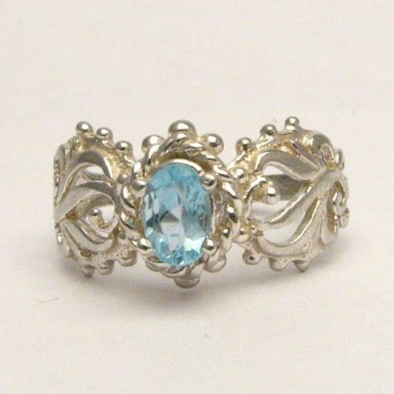 Light Blue Gemstone Spinel Filigree Solid Sterling Silver also in 14kt Gemstone Ring. Custom Sized to fit you.