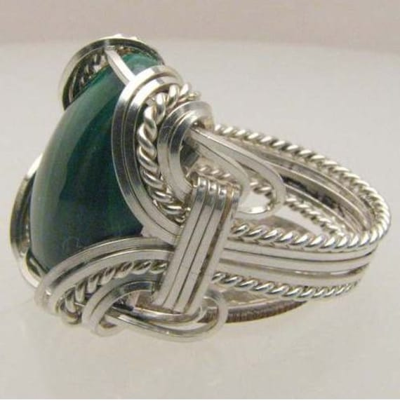 Handmade Wire Wrapped Green Malachite Sterling Silver Ring. Custom Personalized Sizing to fit you.
