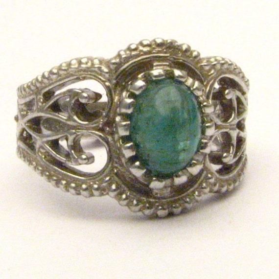 Handmade Sterling Silver Filigree Crown Emerald Gemstone Ring