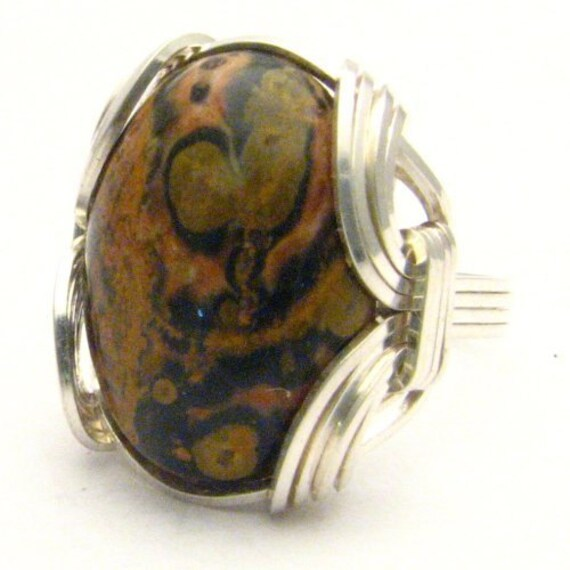 Handmade Sterling Silver Wire Wrap Leopard Skin Agate Cabochon Ring