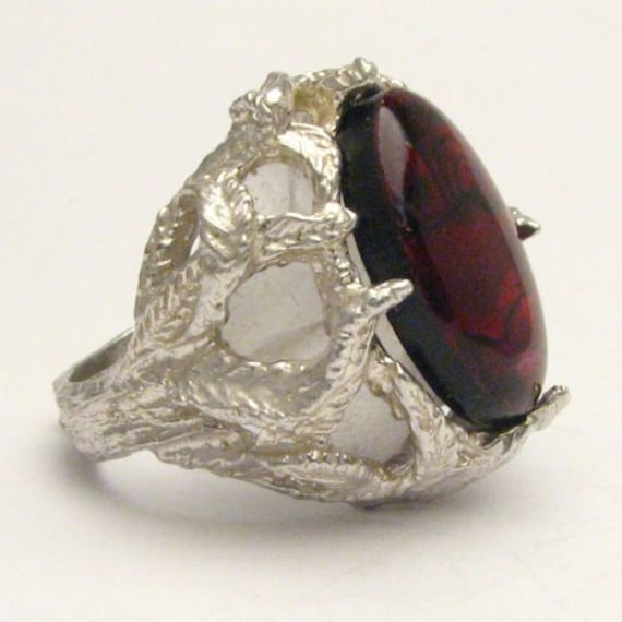 Handmade Solid Sterling Silver Red Paua Shell Gemstone Ring