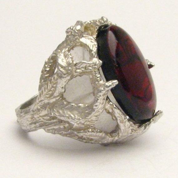 Handmade Solid Sterling Silver Red Paua Shell Gemstone Ring