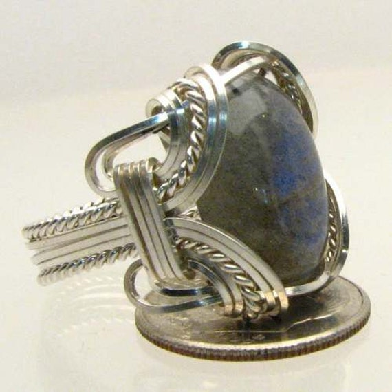 Handmade Solid Sterling Silver Wire Wrapped Vintage Labradorite Ring