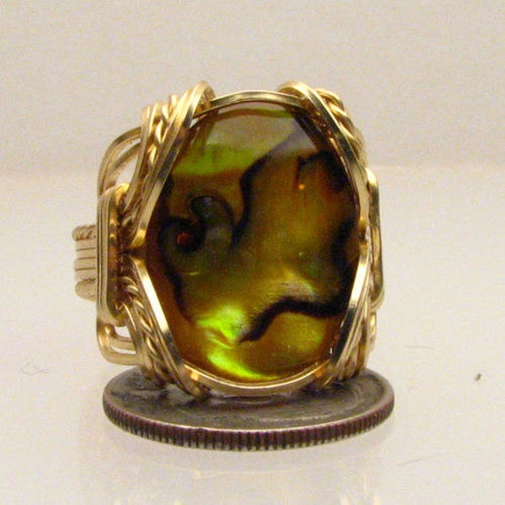 Handmade 14kt Gold Filled Wire Wrap Yellow Paua Shell Ring