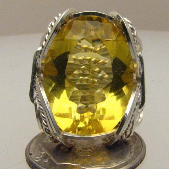 Handmade Solid Sterling Silver Wire Wrap Checkerboard Cut Citrine Ring