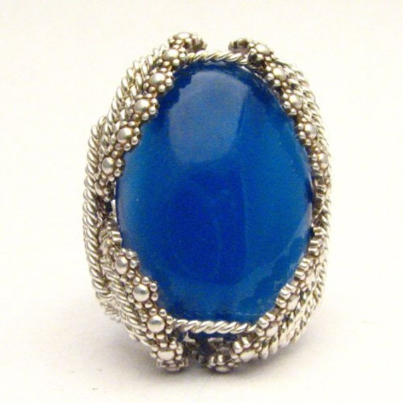 Handmade Sterling Silver Berry Wire Wrap Blue Onyx Ring