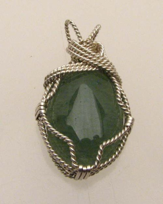 Handmade Solid Sterling Silver Wire Wrap Green Moss Pendant