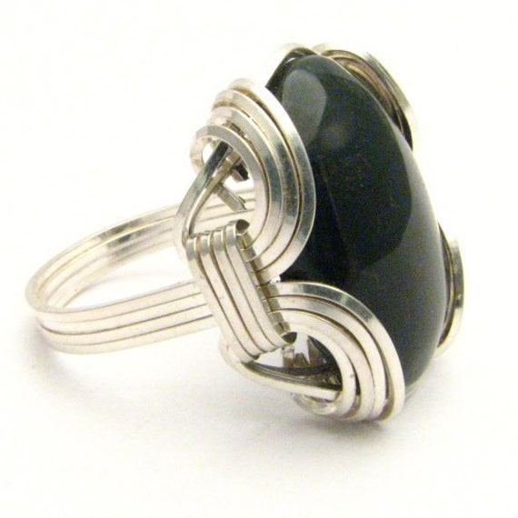 Handmade Sterling Silver Wire Wrap Blood Stone Gemstone Cabochon Ring