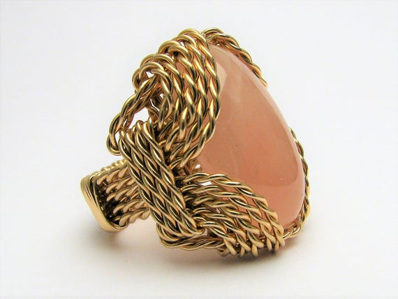 Handmade 14kt Gold Filled Wire Wrap Rose Quartz Ring