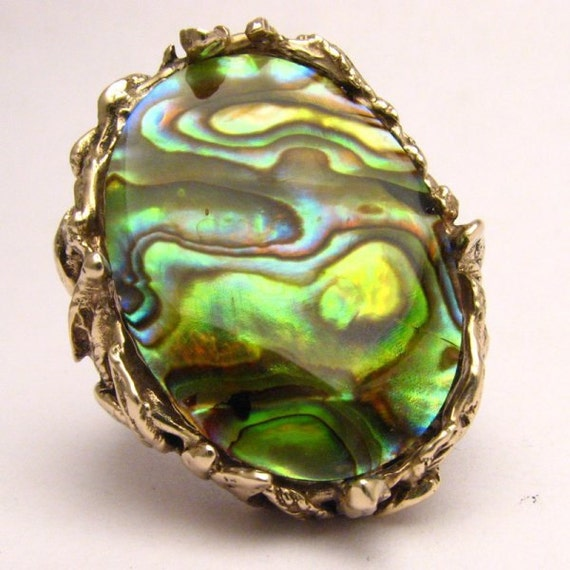 Handmade 14kt Gold Abalone Massive Claw Ring