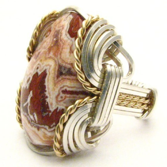 Handmade Wire Wrap Two Tone Sterling Silver/14kt Gold Filled Rosetta Picture Stone Ring