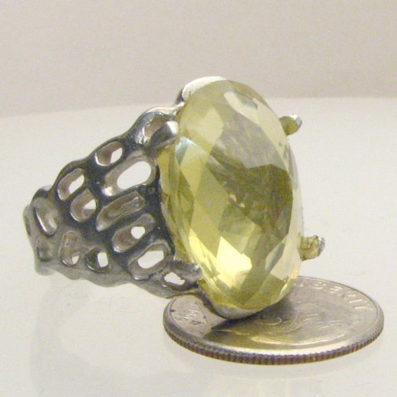 Handmade Sterling Silver Lemon Citrine Lava Ring