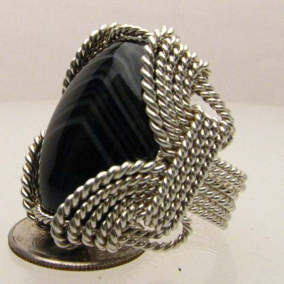 Handmade Solid Sterling Silver Wire Wrap Black Striped Onyx Cabochon Ring