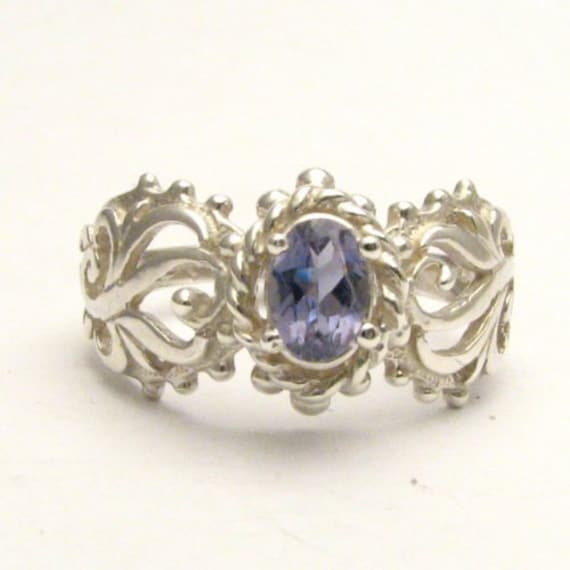 Handmade Sterling Silver Iolite Filigree Gemstone Ring