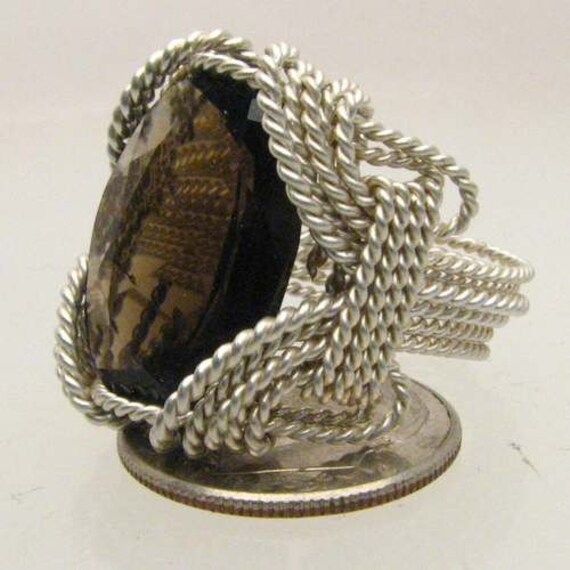 Handmade Solid Sterling Silver Wire Wrap Smoky Quartz Ring