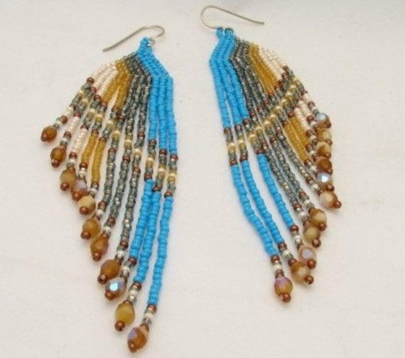 Handmade Native American Style Long Glass Beaded Earrings