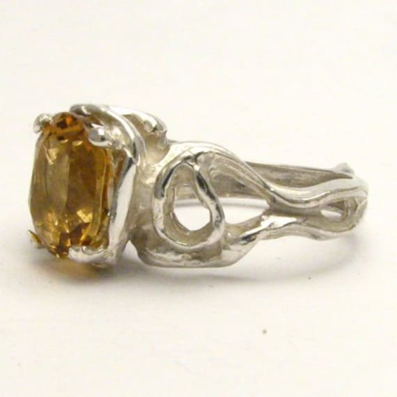 Handmade Sterling Silver Gothic Whiskey Quartz Ring
