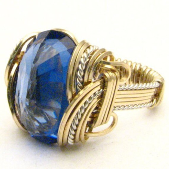 Handmade Wire Wrap Two Tone Sterling Silver/14kt Gold Filled Man Made Tanzanite Ring