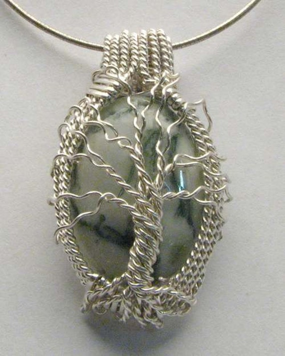Handmade Solid Sterling Silver Wire Wrap Family Tree Agate Cabochon Pendant