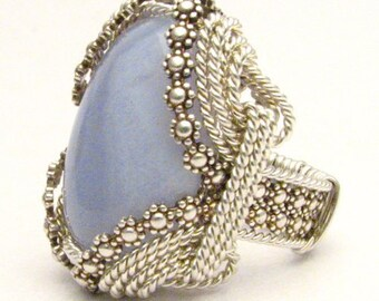 Handmade Sterling Silver Berry Wire Wrap Blue Lace Agate Ring