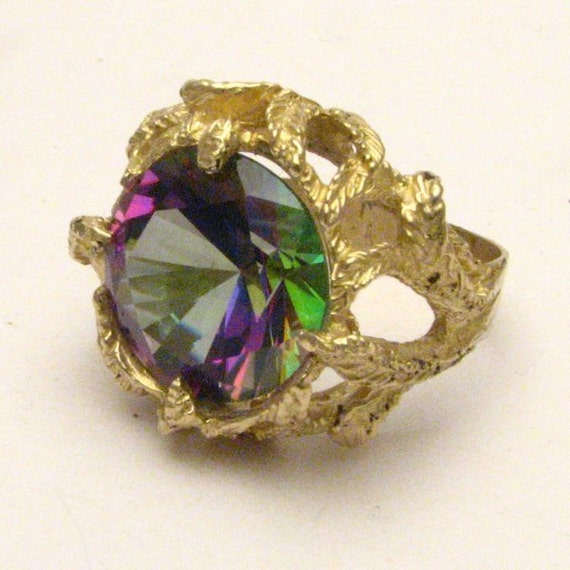Handmade 14kt Gold Rainbow Mystic Topaz Claw Gemstone Ring
