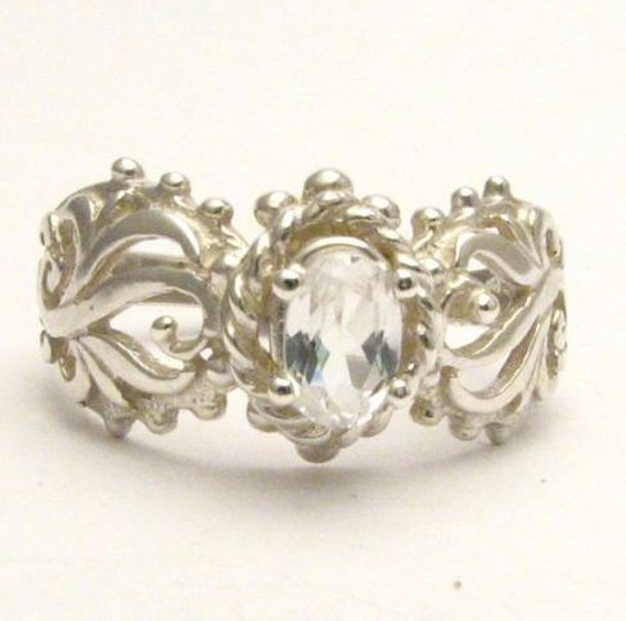 Beautiful handcrafted White Sapphire Filigree Vine Solid Sterling Silver Ring.  Custom Sized to fit you.