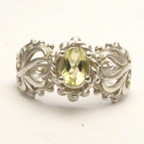 Handmade Sterling Silver Lemon Citrine Filigree Gemstone Ring