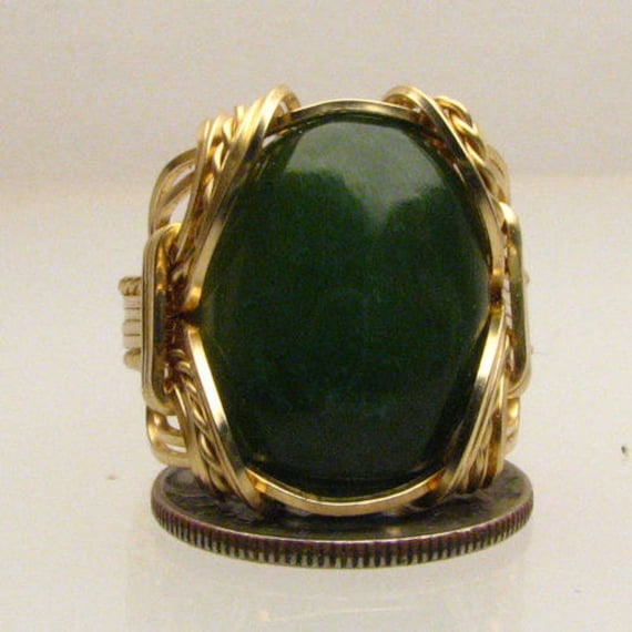 Handmade Solid 14kt Gold Wire Wrap Green Adventure Agate Gemstone Ring