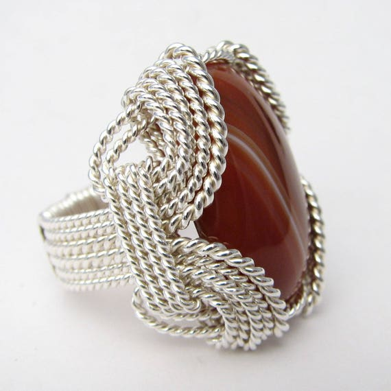 Handmade Solid Sterling Silver Wire Wrap Red Sardonyx Ring