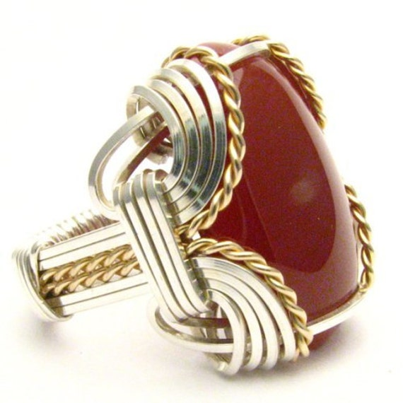 Handmade Wire Wrap Two Tone Sterling Silver/14kt Gold Filled Carnelian Ring