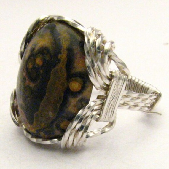 Handmade Sterling Silver Wire Wrap Leopard Skin Ring