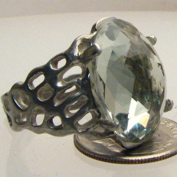 Handmade Sterling Silver Prasiolite Lava Ring