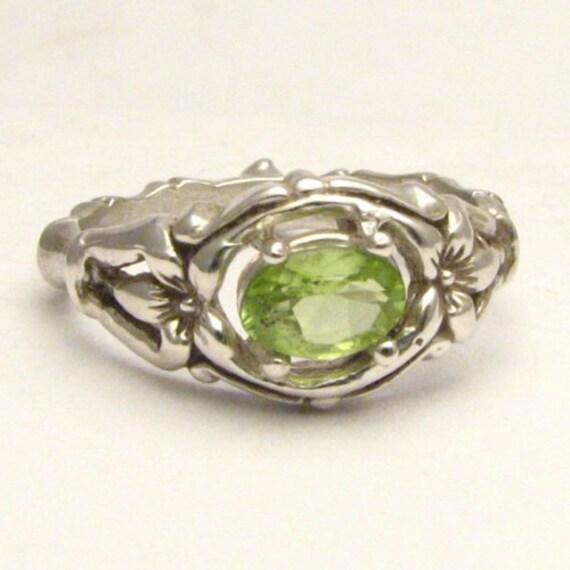 Handmade Sterling Silver Green Peridot Bone Gemstone Ring