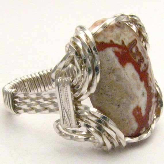 Handmade Sterling Silver Wire Wrap Rosetta Picture Stone agate Cabochon Ring