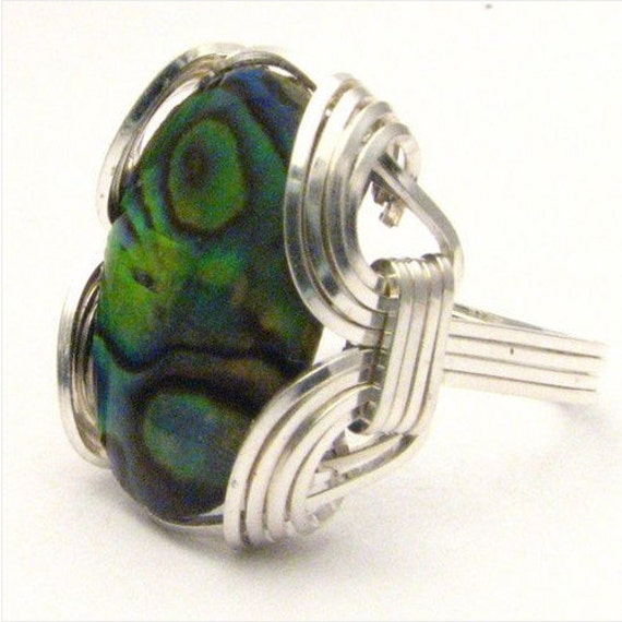 Handmade Sterling Silver Wire Wrap Abalone Ring