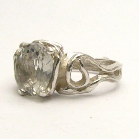 Handmade Sterling Silver Gothic Prasiolite Gemstone Ring