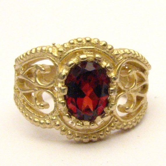 Handmade 14kt Gold Filigree Crown Ring Garnet Gemstone Ring Get this for your January babies  8x6mm 1.5ct 6.6 Gr. of Gold January Birthstone