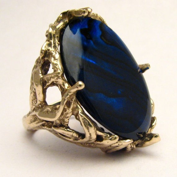 Handmade 14kt Gold Blue Paua Shell Massive Claw Ring
