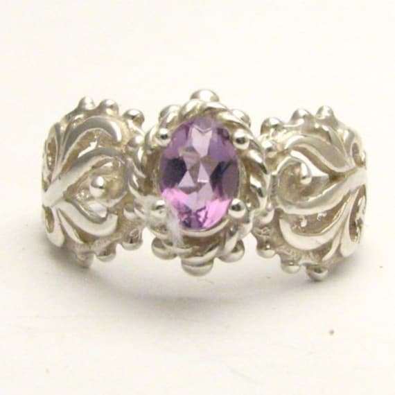 Handmade Sterling Silver Purple Amethyst Filigree Gemstone Ring