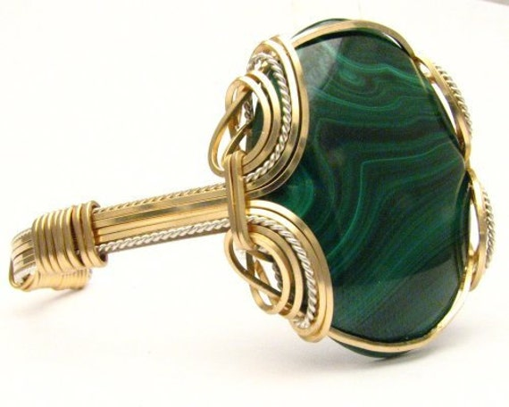Handmade Wire Wrap Sterling Silver/14kt Gold Filled Malachite Bracelet