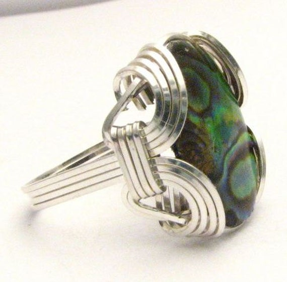 Wire Wrapped Green Yellow Brown Black Mixed Color Abalone Sterling Silver Ring.  Custom Sized to fit you.