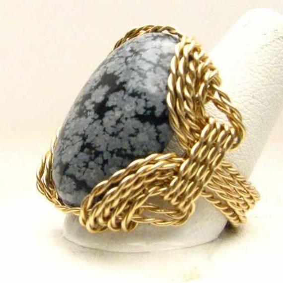 Handmade 14kt Gold Filled Wire Wrap Snowflake Agate Ring