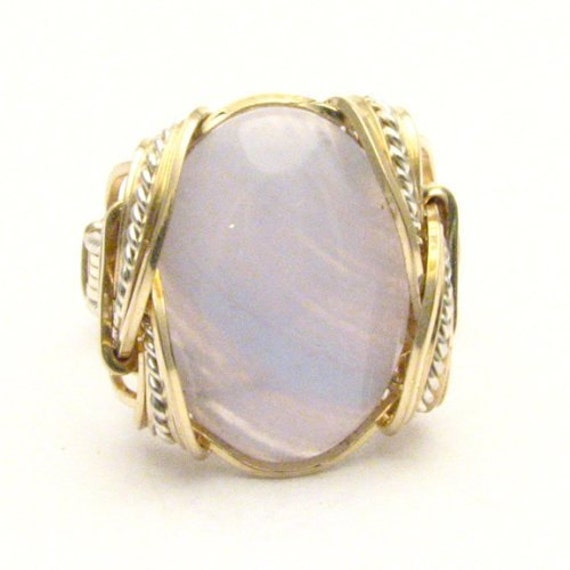 Handmade Wire Wrap Two Tone Sterling Silver/14kt Gold Filled Blue Lace Agate Ring