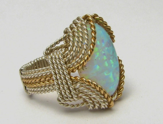 Opal Cabochon Ring Wire Wrapped Ring Sterling Silver & 14kt Yellow Gold Filled Handmade Personalized Artisan Synthetic Opal Cabochon Ring
