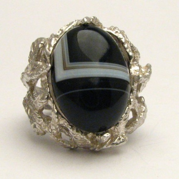 Handmade Sterling Silver Black/White Onyx Cab Ring